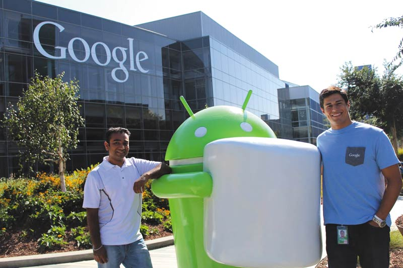 Left to right, SPS alumni Sandeep Giri, Manager, Advanced Technology Manufacturing (Project Loon), and former Google X Intern Ben Perez at Google X in Mountain View, CA.