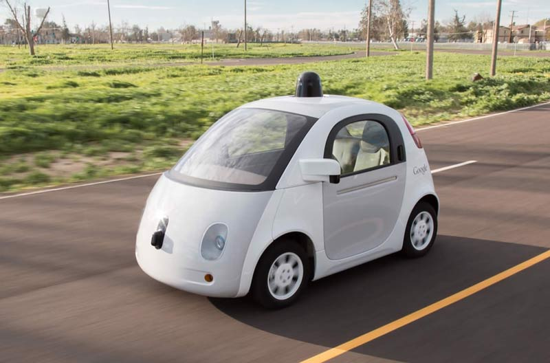 After months of testing and iterating, Google delivered the first real build of a prototype self-driving vehicle in December 2014. Photo courtesy of Google.
