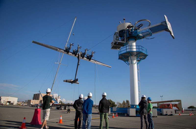 The 600kW energy kite in the Makani Team's test lot. Image courtesy of Makani / X.