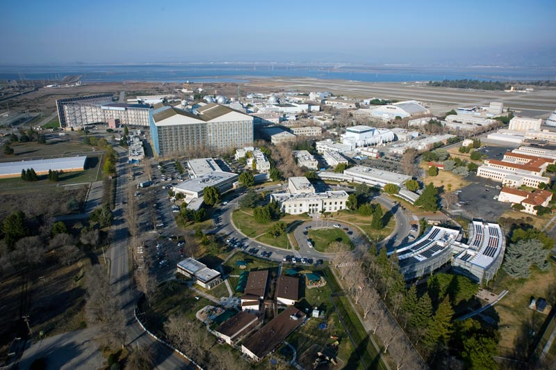 An aerial photograph of NASA's Ames Research Center taken in February 2012. Image credit - Eric James.