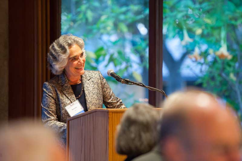 Persis Drell addresses guests at the SLAC 50th Anniversary reception and dinner at the Stanford Faculty Club, Friday August 24th, 2012. Photo courtesy of SLAC National Accelerator Laboratory.