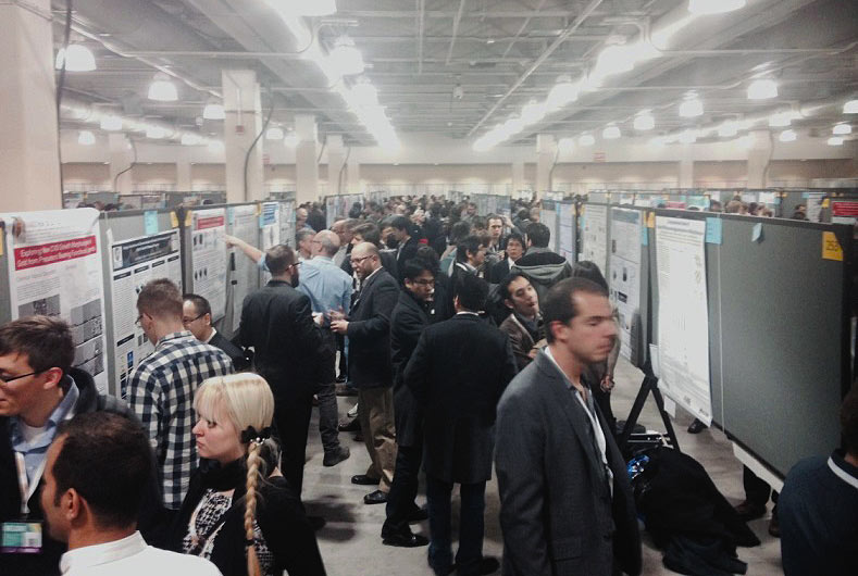 The poster sessions were quite popular, with over 3,000 posters presented in the six days of the conference, mostly by graduate students.