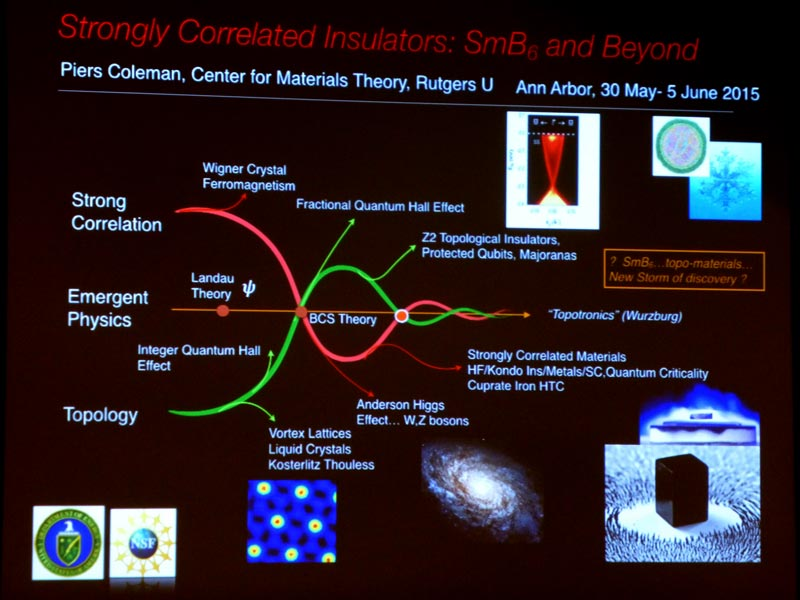 Slide depicting the interplay between strongly correlated electron systems and topology on a relative timeline of emergent physics, as seen by Prof. Piers Coleman (Rutgers University), whom I have had a chance to interview after his concluding talk at the conference. Photo courtesy of Pavel Shibayev.