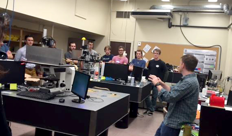 Dr. Chris Mann giving a tour of the NAU Optical Metrology Lab