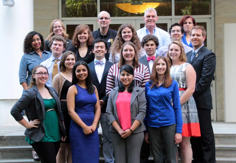 SPS summer interns and national office staff on the steps of the American Center for Physics.