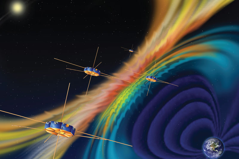 Artist rendition of MMS spacecraft. MMS consists of four identical spacecraft that work together to provide the first three-dimensional view of this fundamental process, which occurs throughout the universe. Image courtesy of NASA.