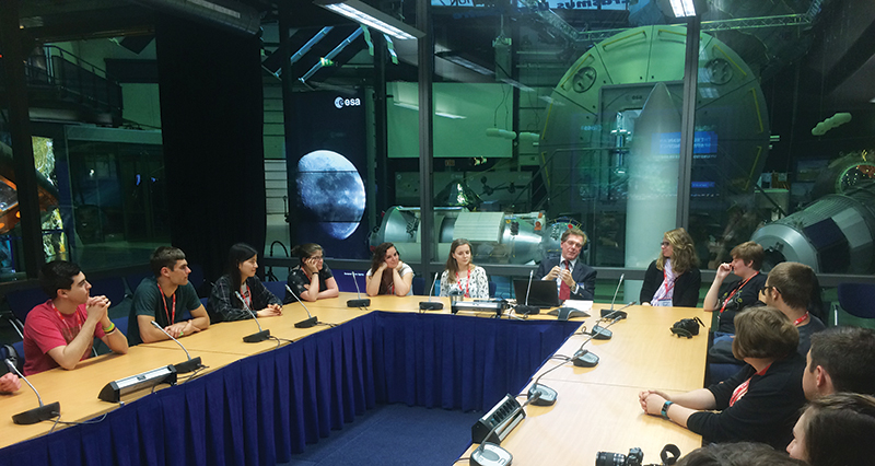 Attending the introductory seminar at the European Space Agency.