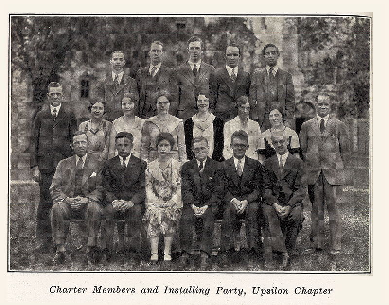 Charter Members and Installing Party at thevWheaton College, June 3, 1931, reprinted from H. O. Taylor, A History of Wheaton College, December 1931, Radiations