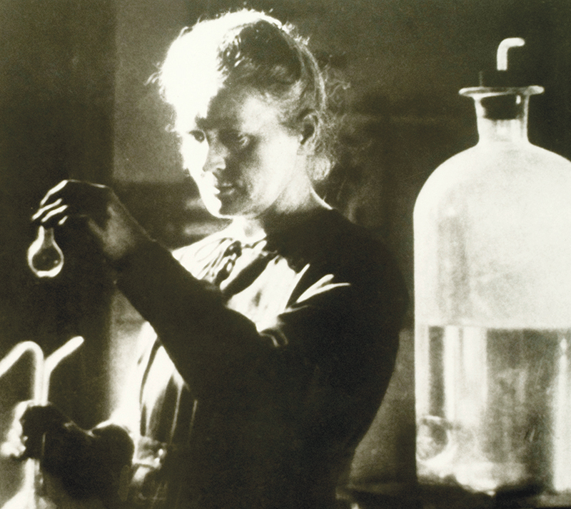 Marie Curie in the laboratory. Image courtesy of the Curie Museum.