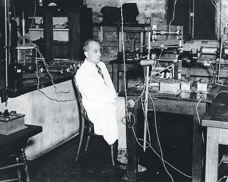 Portrait of Elmer Imes working in a laboratory. Image courtesy of the Fisk University Special Collections and Archives.