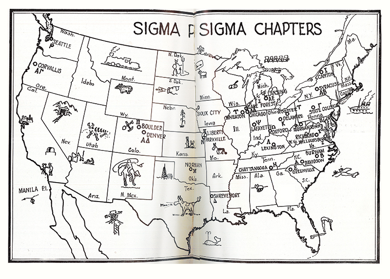 Map of Sigma Pi Sigma chapters, reprint from page 24, September 1935, Radiations