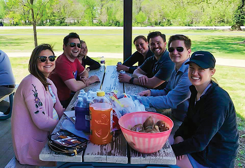 Current students, alumni, and SPS members share a picnic lunch. Photos courtesy of the MSSU Sigma Pi Sigma chapter.