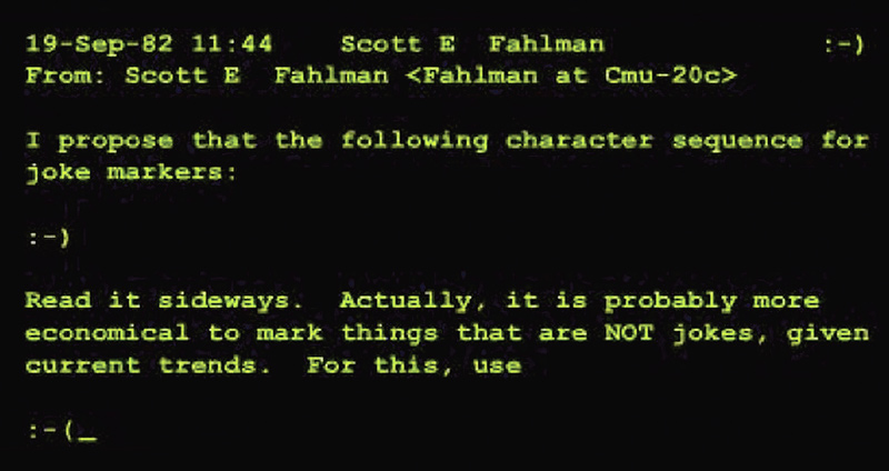 Text of Fahlman's original post proposing the smiley. Photo courtesy of the School of Computer Science / Carnegie Mellon University.