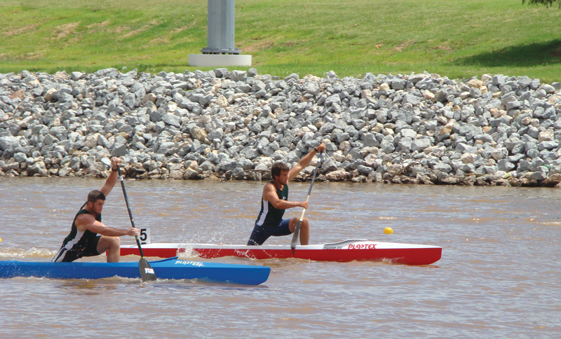 Ben Hefner takes the lead during a race at the 2013 USA Canoe/Kayak Sprint Nationals in Oklahoma City, OK. Photo courtesy of Ben Hefner.