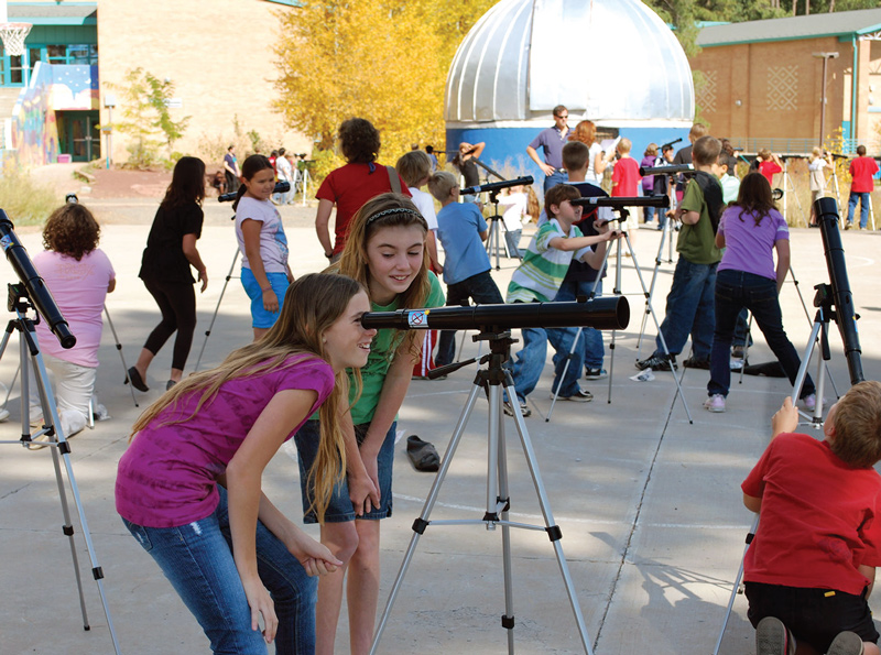 Students try out Galileoscopes during the day using sun filters. Photo courtesy of the Galileoscope Task Group.
