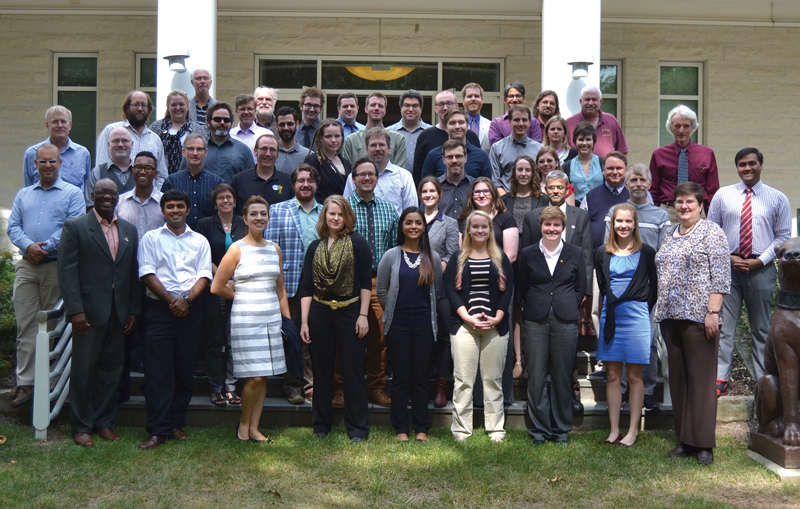 The 2014–15 SPS National Council and the 2016 SPS Congress Planning Committee stand in front of the American Center for Physics in College Park, MD, in late September.  Photo by Matt Payne.