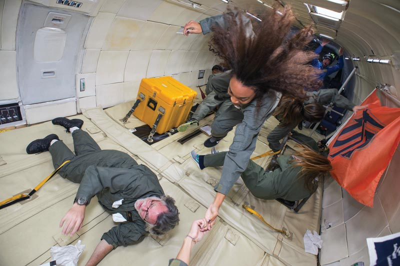 The Howard University  team experiences zero gravity as the vomit comet plummets toward Earth. Photo courtesy of Janelle Holmes.