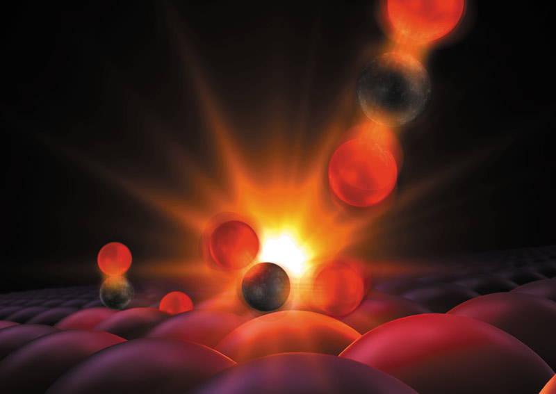 Scientists Get First Glimpse of a Chemical Bond Being Born. This illustration shows atoms forming a tentative bond, a moment captured for the first time in experiments with an X-ray laser at SLAC National Accelerator Laboratory.  Image courtesy of SLAC.