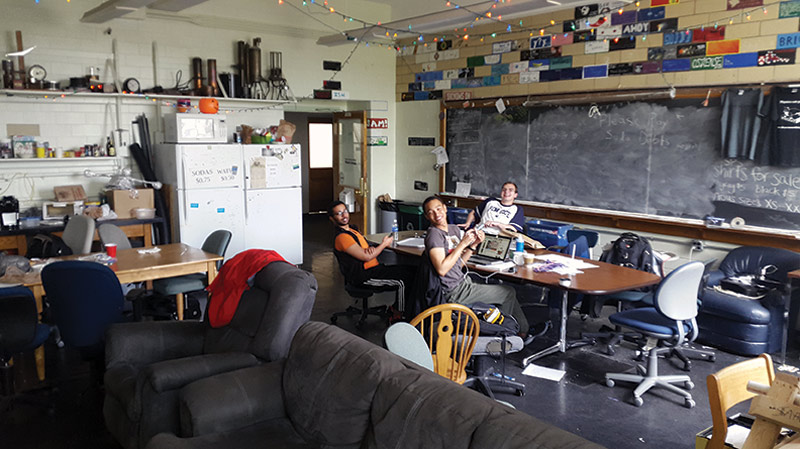 Students relax in our comfortable lounge. Photo by Kristina Kaldon.