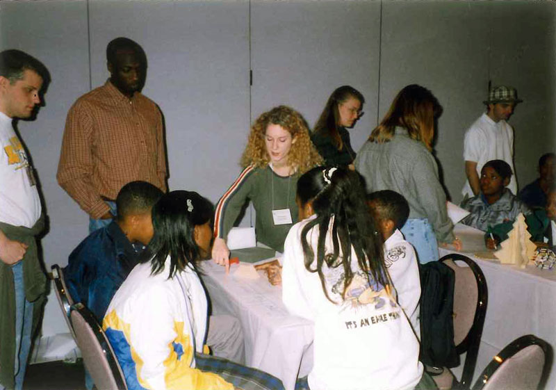 The Northwestern state university sps chapter hosts a 1999 outreach event in  Natchitoches, LA. Photo courtesy of Gary White.