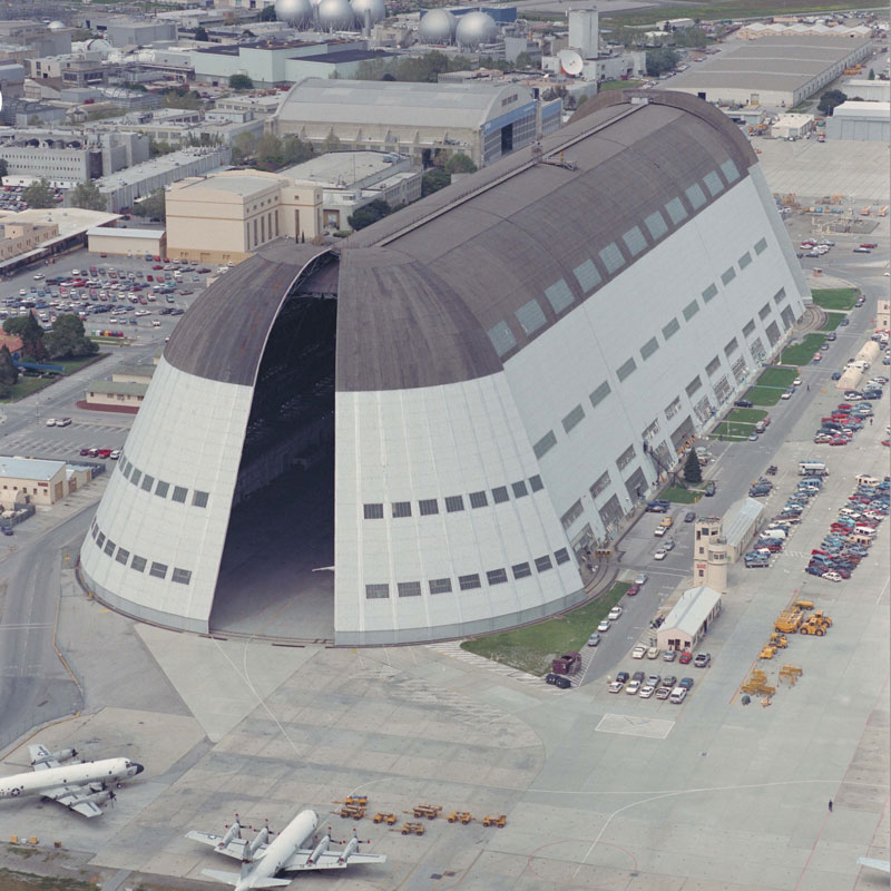 Hangar 1 at Moffett Field, Calif., 1992. Photo courtesy of NASA Ames Research Center.