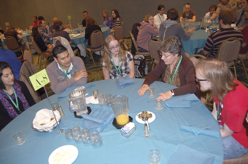 Breakfast with the Scientists is an opportunity for students to personally interact with professional physicists in small groups. Sometimes the only practicing physicists many students interact with are their professors, and this event affords them the opportunity to talk with scientists involved in careers outside academia. Participating scientists at PhysCon 2012 included (left to right, starting at top)  Freeman Dyson (center), Shelly Arnold (center), John Mather (left), and Jocelyn Bell Burnell (second from right). Images courtesy of the American Institute of Physics.