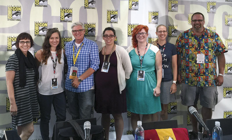 Becky Thompson, second from right, with fellow panelists at San Diego Comic-Con. Image courtesy of Becky Thompson.