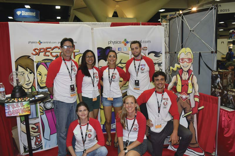 Becky Thompson, front row, middle, with APS staff at the San Diego Comic-Con Spectra booth. Image courtesy of Becky Thompson.