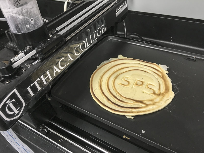 Ithaca College uses its Pancakebot to print SPS-inspired flapjacks. Photo courtesy of Bodhi Rogers.