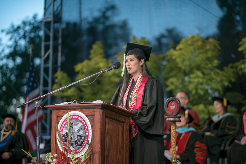 Lisa Pham sharing her story during the California State University, Chico commencement in May 2017. Photo courtesy of Jason Haley, Chico State photographer.