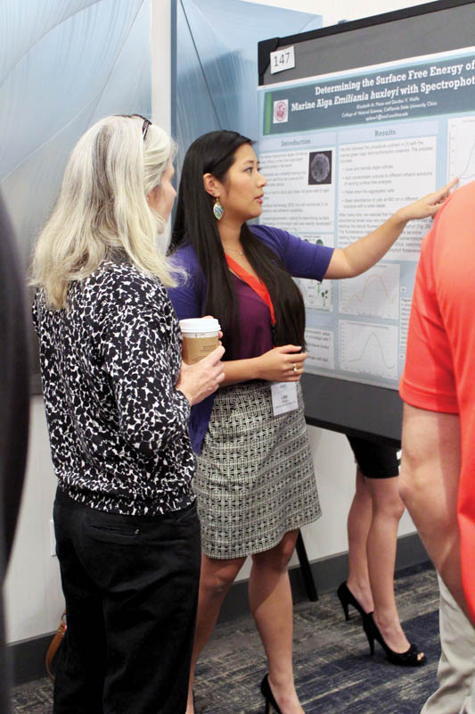Pham presenting her research poster at PhysCon 2016. Photo courtesy of Chico State SPS.