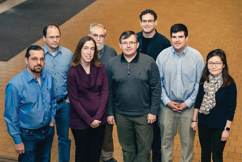 Dr. Kiril Streletzky (PI), Dr. Nolan Holland, Dr. Jessica Bickel (co-PI), Dr. Miron Kaufman, Dr. Petru Fodor, Dr. Andrew Resnick, Dr. Chris Wirth, Dr. Geyou Ao, Not Pictured - Dr. Chandra Kothpalli. Participating faculty of the Softmatter REU at Cleveland State University. Photo courtesy Dr. Kiril Streletzky