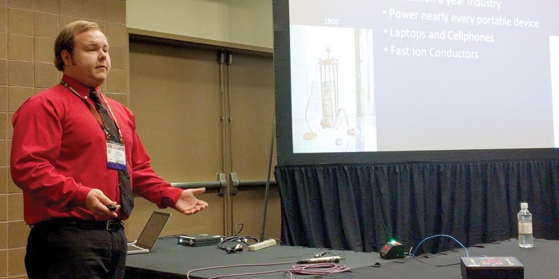 Patrick Gemperline, SPS Member, Xavier University (OH) presenting at the APS March Meeting. Photos courtesy of AIP.