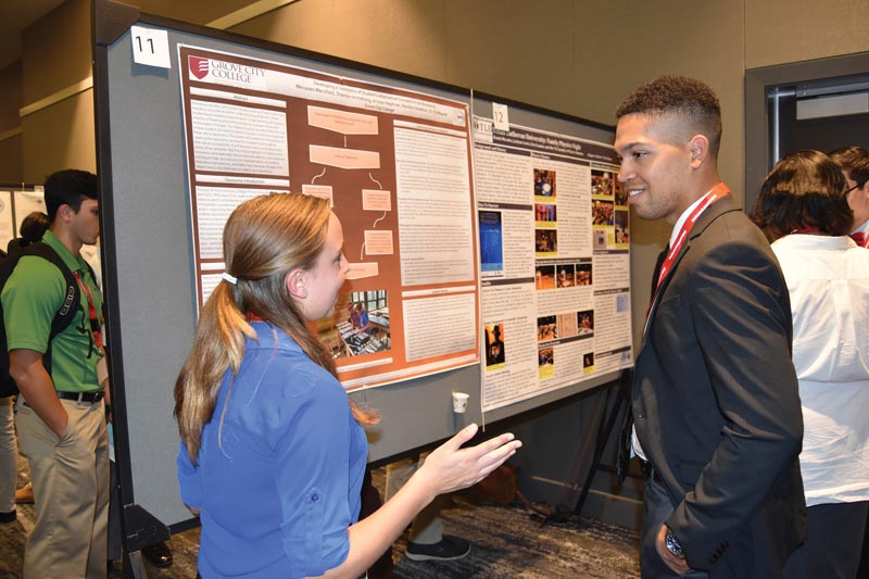 Poster presentations gave students a chance to talk shop with mentors and colleagues.
