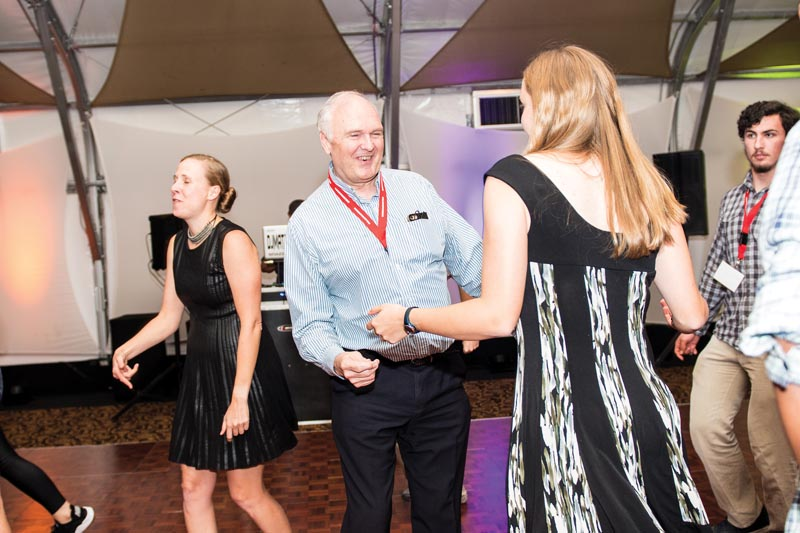 "AIP CEO Robert G.W. Brown hits the dance floor at ""The Silicon Dance Party"" sponsored by the American Physical Society."