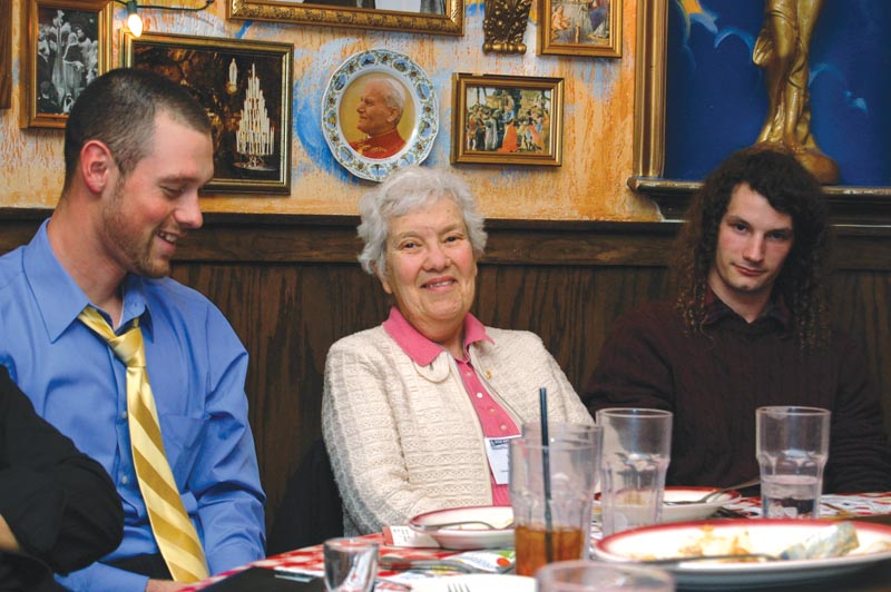 After speaking at an undergraduate research session in 2010, Dr. Rubin enjoys a meal and good fellowship with the SPS students in attendance. Photos courtesy of the American Institute of Physics.