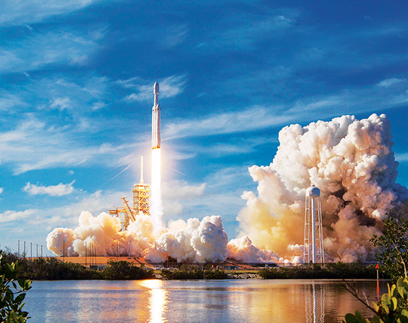 The Falcon Heavy rocket takes off from pad 39A at the Kennedy Space Center in Florida. Photo courtesy of SpaceX.