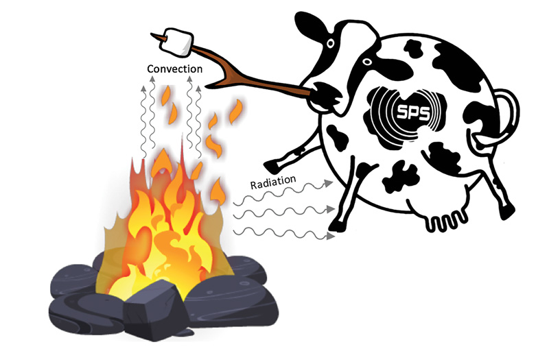 Figure 2. A spherical cow roasting a nonspherical marshmallow over an ideal campfire (not to scale). Note that hot air and radiation are emitted from the campfire.