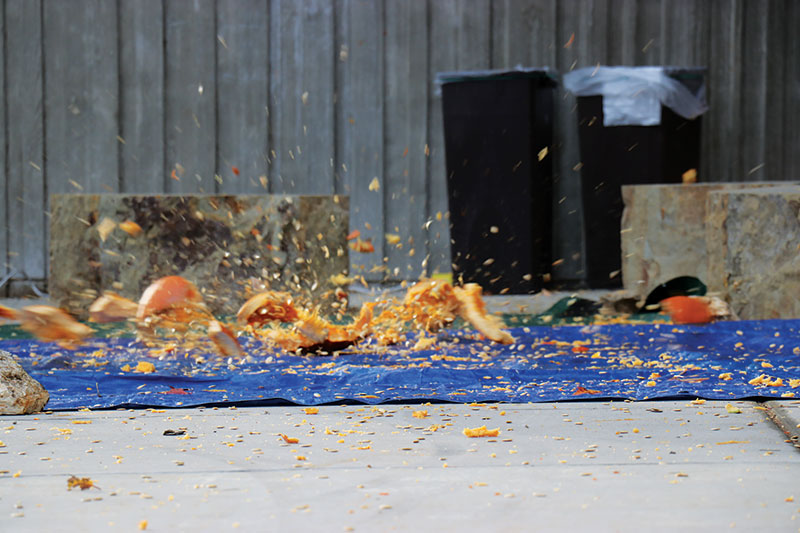 Up-close image of a pumpkin as it makes impact with the ground! #SPSplat