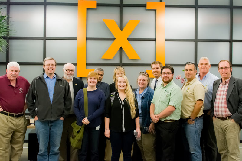 The planning committee and SPS staff are pictured at Google X headquarters, where they discussed options for site visits during the 2016 Quadrennial Physics Congress.