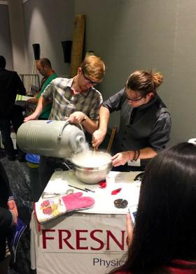 Fresno State students prepare a liquid Nitrogen ice cream treat
