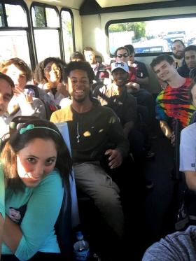 Students en route to one of PhysCon's four tour sites.