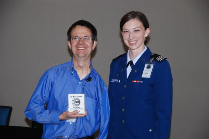 Cadet First Class and SPS President Anita Dunsmore posing with Dr. Cornell