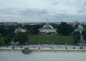 A view from the backside of the Capitol building.