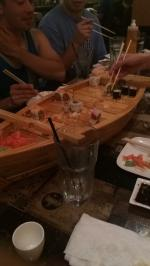 The all-you-eat sushi boat, one of two.