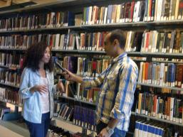 Taha Selim interviews an AUC student. Photo courtesy of Taha Selim.