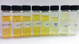 Samples of methyl orange exposed to the team's photocatalysts for longer periods of time appeared less yellow to the naked eye as more of the toxin was broken down.