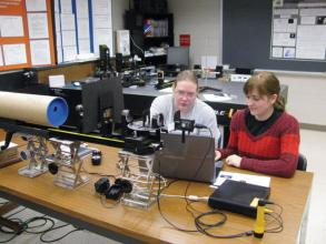 Sara-jeanne Vogler (left) and Keeley Townley-Smith (right) analyze data from the Hertzsprung-Russell diagram experiment.