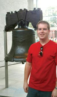 The author visits the Liberty Bell in Philadelphia. Photo courtesy of Sean Bentley.