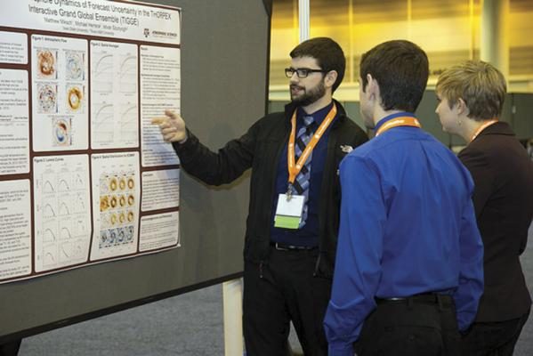 Matthew Miksch of Iowa State University presents his research to attendees of the 15th Annual AMS Student Conference. Photo courtesy of AMS.